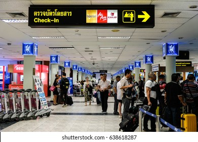 Hat Yai, Thailand - May 8, 2017 : Hat Yai International Airport(HDY) 1st floor with many people waiting for check in