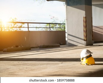 Hat yellow white isolated safety foreman engineering labor employment worker african on road pavement for health care insurance building technology industry manufacture import export international