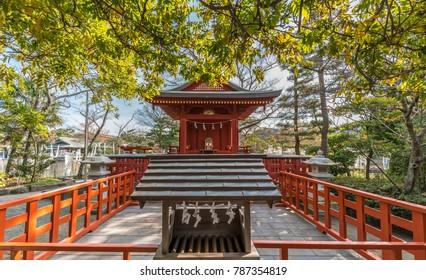 Hataage Benzaiten Shrine located in the grounds of Tsurugaoka Hachimangu Shinto shrine in Kamakura, Kanagawa Prefecture, Japan