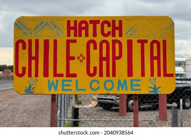 HATCH, NEW MEXICO - SEPTEMBER 4, 2021: The welcome sign at edge of town welcoming visitors to the annual Hatch Chile Festival.