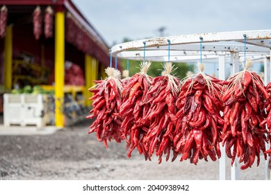 HATCH, NEW MEXICO - SEPTEMBER 4, 2021: Bunches of red chiles for sale at a roadside farm stand during the annual Hatch Chile Festival.
