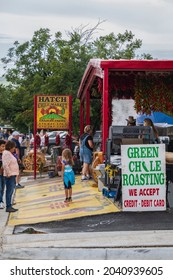 HATCH, NEW MEXICO - SEPTEMBER 4, 2021: The Hatch Chile Market selling fresh and roasted chiles during the annual Hatch Chile Festival.