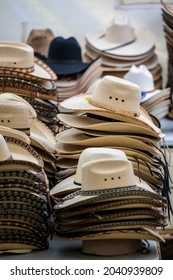 HATCH, NEW MEXICO - SEPTEMBER 4, 2021: Hats for sale during the annual Hatch Chile Festival.