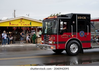HATCH, NEW MEXICO - SEPTEMBER 4, 2021: The Hatch, NM fire truck in the parade during the annual Hatch Chile Festival.