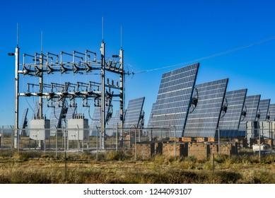 HATCH, NEW MEXICO, USA, 11-16-2014. Modern solar plant on highway 26 near Hatch,