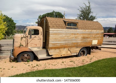 HATCH,UTAH,USA-JULY 25: A homemade camper sits in front of an RV park on July 25, 2013. RVs have been popular in the US for almost a century.
