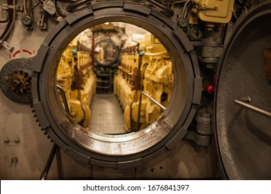 hatchway opened is inside submarine