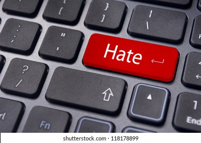 hate or hating concepts, with message on computer keyboard.
