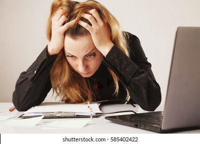 I hate my office work. Office hell. Woman going crazy with work with documents. Low wages, overtime working hours, lack of career prospects concept. (Body language, gestures, psychology)