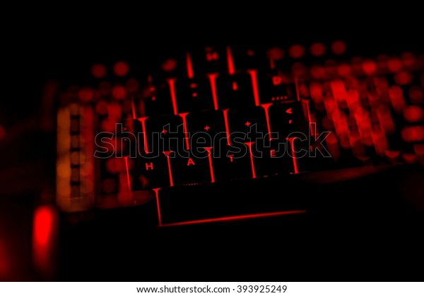 Hate text on the illuminated buttons of the keyboard by night