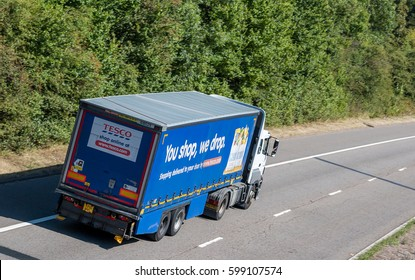 HATFIELD, UK - SEPTEMBER 2016: Lorry belongs to Tesco in motion on the British road