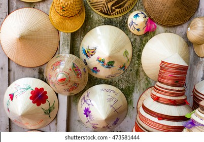 hats made from bamboo on Shop in Hanoi's Old Quarter.souvernir made from bamboo, this is Vietnam's culture