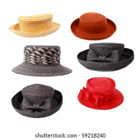 Hats on white