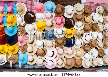df2351b8 Hats Sale On Street Stall Old Stock Photo (Edit Now) 1174964866 ...