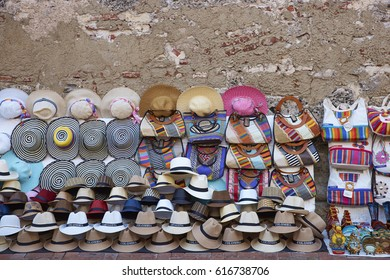 Hats for sale at a street market in the historic city of Cartagena de Indias in Colombia