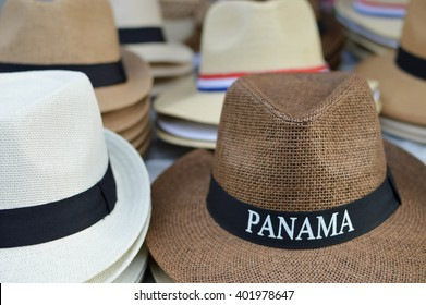 Hats are sold as souvenirs in Casco Viejo district of Panama City, Panama, Central America. Shallow DOF