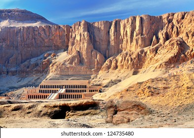 The Hatshepsut temple in the Valley of the Kings, in Egypt, late in the evening, just before the sunset