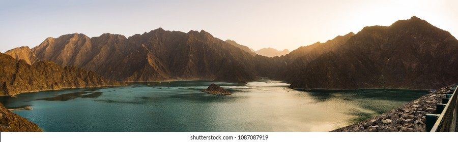 Hatta Dam Lake panorama at sunset, Dubai, United Arab Emirates