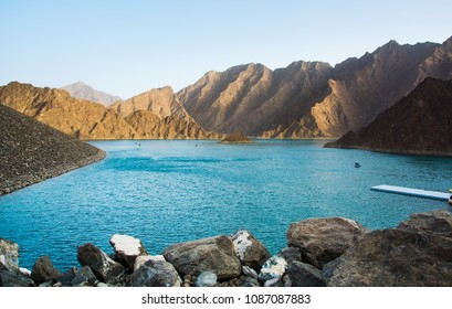 Hatta Dam Lake scenery in eastern Dubai, United Arab Emirates