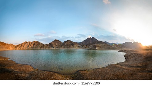 Hatta dam, United Arab Emirates . Panoramic view of Hatta water reserve in the UAE.