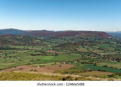 Hatterrall Hill (center right) & Vale of Ewyas, viewed from Ysgyryd Fawr (Skirrid Fawr), Abergavenny, Monmouthshire, Wales