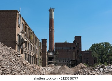 HATTERSHEIM AM MAIN-OKRIFTEL, GERMANY-JUNE 29, 2018: remodeling and partial demolition of a former paper mill, (cellulose factory)