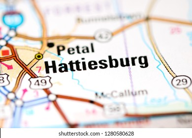 Hattiesburg. Mississippi. USA on a map