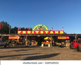 Hattiesburg-Mississippi, November 24, 2019 Shopping at the Country Tyme Fruitstand. Southern Charm and Unique Country stand.