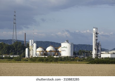 HATTINGEN, GERMANY - JULY, 25. The German branch of Air Products produces gases by liquidation of air near the river Ruhr on July 25, 2015.