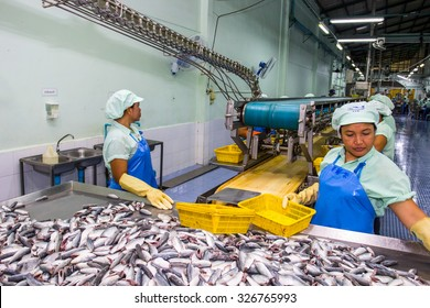 HATYAI ,August 31,2015: Worker are cleanning raw material Sardines fishes for send to production line in Canned fish factory in Songkla,Thailand.