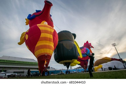 Hatyai, Songkhla, Thailand - May 6, 2017 : Atmosphere of hot air balloon festival.