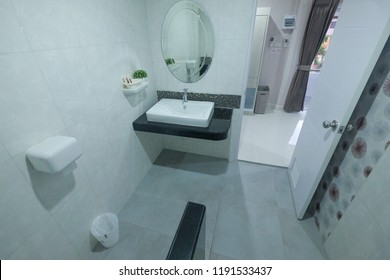 Hatyai, Thailand, 20 September 2018 : Interior view of 3 stars hotel bathroom in Hatyai, Thailand. Hatyai is popular attraction in Thailand Southern province.