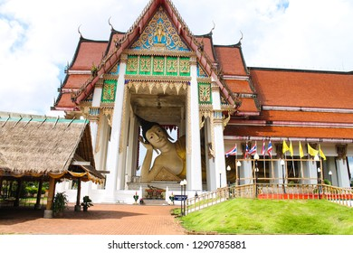 Hatyai Thailand, 5th January 2019: Wat Hat Yai Nai Temple of The Reclining Buddha in Southern Thailand. Sleeping Budha temple