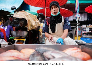 Hatyai, Thailand - Circa October,2019 : scenery of shopping at Kim Yong fresh market activities among sellers and localist or tourist.Song Khal street.