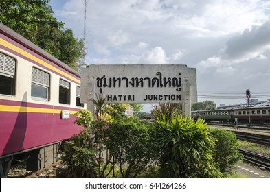 Hatyai, Thailand - Febuary 11, 2017: Train and train station label at Hatyai train station, Thailand.