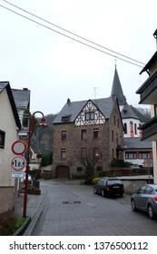 Hatzenport, Rheinland-Palz / Germany - January 6 2018: Romantic get away town buildings/houses along the Mosel (Moselle) River in Rheinland-Pfalz, Germany.