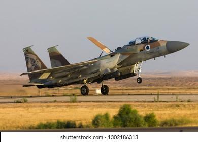 Hatzerim, Israel 06 28 2018: Israeli Air Force F-15I Raam jet with bombs flying during an airshow at Hatzerim, close to Beersheva Israel