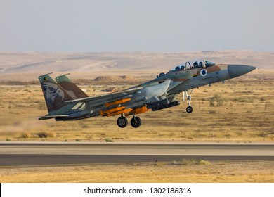 Hatzerim, Israel 06 28 2018: Israeli Air Force F-15I Raam jet with bombs flying during an airshow at Hatzerim, close to Beersheva Israel