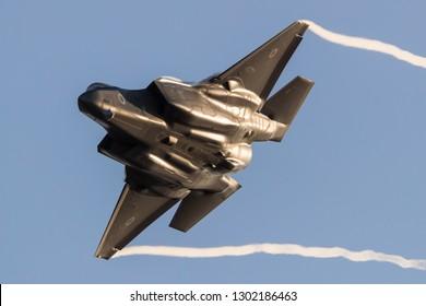 Hatzerim, Israel 06 28 2018: Israeli Air Force F-35 Stealth Fighter jet flying during an airshow at Hatzerim, close to Beersheva Israel