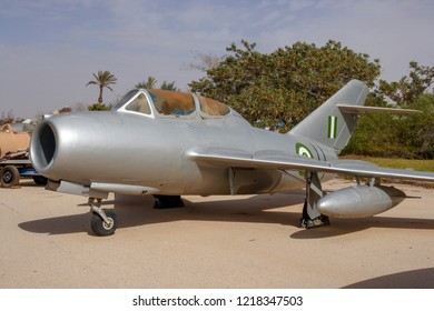 HATZERIM, ISRAEL - JANUARY 27, 2011: Captured Egypt Air Force MiG-15 fighter jet on display in the Israeli Air Force Museum.