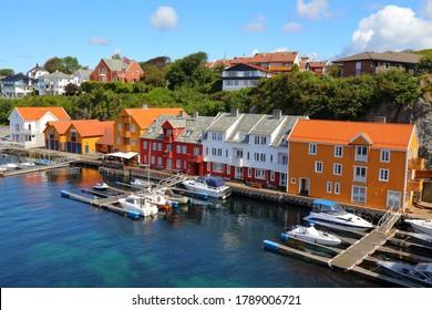 Haugesund city, Norway. Summer view of boats in Haugaland district of Norway.