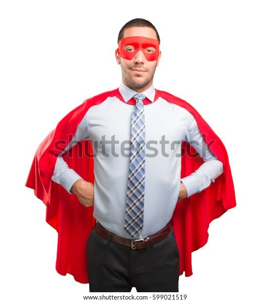 Haughty super businessman posing