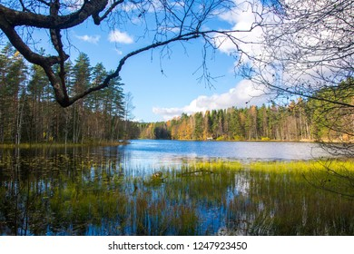 Haukkalampi pond view, Nuuksio National Park, Espoo, Finland