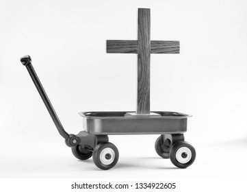 Hauling the old wooden cross in a little red wagon in black and white.