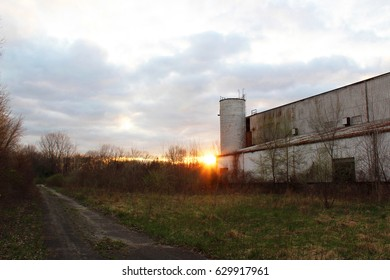 Haunted Abandoned Factory at Dusk