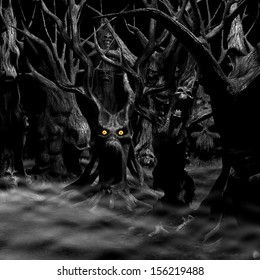Haunted Forest - a forest of twisted, disturbed, tormented and evil trees.  Black and white with fiery eyes. Happy Halloween.