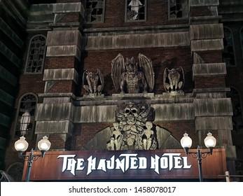 Haunted Hotel (house) scary game - IMG Worlds of Adventure in Dubai city, United Arab Emirates - Dubai, UAE July 07, 2019