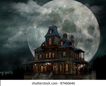 Haunted House - A creepy haunted house with a weathered, vintage look for Halloween and other spooky occasions.