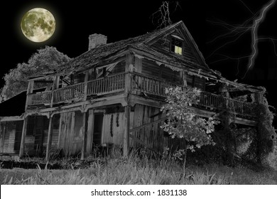 Haunted House with a Full Moon