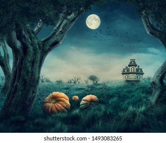 Haunted house in the halloween forest
